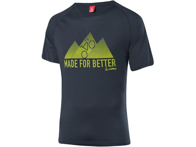 Löffler Merino Tencel T-Shirt Men, noir/vert
